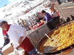 Sunshine, snow and..............paella. Sierra Nevada ski resort, Spain.