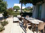 Patio view again for Al Fresco dining.  Seating for 6, and sun loungers too for your usage.