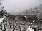 The famous bridge in the snow