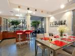 Lower level indoor dining for 8 plus kitchen