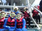 Getting ready to go snorkeling