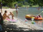 swimming in the lake Bohinj 23 C