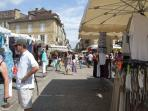 On Saturday mornings, the streets of Sarlat turn into a huge market for products of all kinds -- duc