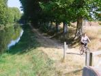 Bicycles are available for hire at the Canal du Midi - 5 mins away