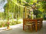 The shaded pergola is perfDine in the garden under the shaded pergola and indulge in the Chefs reper