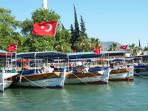 Boats on Dalyan River