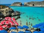 Blue Lagoon with parasols.