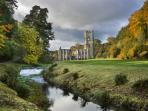 Up the road, Fountains Abbey and deer park.