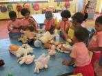Guests from Finland brought gifts for the Pre school kids