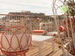 Roof top terrace with amazing views of the Acropolis and the city of Athens