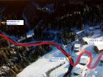 Aerial picture showing route to Chalet D