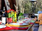 Enjoy Dinner Outside on the Table that Can Seat 14 on the huge side deck