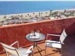 Enjoying the sun terrace