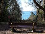 The path through the woods at Fort Victoria has many viewpoints over the Solent
