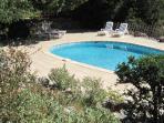 Espace piscine vue en haut  du jardin