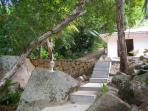 Steps from beach leading to villa