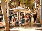 Denia's main street, cafe atmosphere all year round