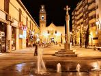 One of the plazas at night - pleasant, lively yet peaceful