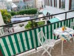 Our large balcony with fantastic view of the pedestrian mall and the Triangeln square in Malmö.