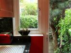 Kitchen/Private garden. Please water my plant if it's dry. Thank you :-)
