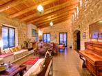 Beautiful stone walls and wooden ceilings!