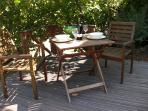 The Cherry tree shaded terrace is great for alfresco dining