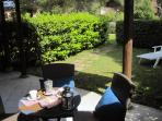The studios with garden have the outdoor space is equipped with sunbeds and table