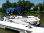 Pontoon Boat Available for Rent seats 8 with 1500 Lbs. Max