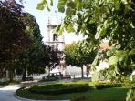 The park and church in Vila Nova de Poiares