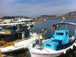 The fishing boats to Fokea- you could buy fresh fishes every morning- (2km from our villa)