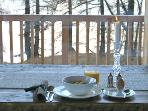 Enjoy breakfast with uninterrupted views of  the Alps