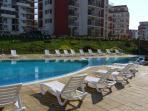 Pool outside apartment