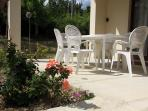 Enjoy a meal or a drink on this sunny terrace