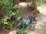 Table and chairs in the garden