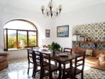 Dining room, view to the garden, extendable table for 12 people