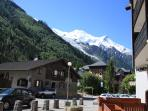 View of Mont Blanc from in front of apartment building