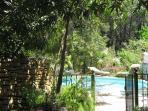 vue de la piscine depuis la location