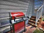 Enjoy dining al fresco with the grill provided