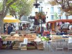 market on at top of street