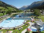 Klosters outdoor swimming pool 150m from front door!