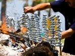 Sardines of the bay of Malaga, grilled on cane skewers in the beach restaurants.