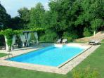 swimming pool with wooden house