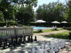 guests sun terraces with giant chess, ping pong - more than enough space for everyone