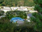 View of our air dome covered pool ( the blue bubble) taken from the back garden, Awseome .