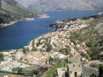 View of Kotor and Dobrota from the Old City wall