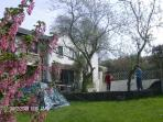Spring outside cottage