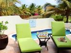 550 sq foot terrace with private pool and view on the tropical garden and the golf