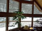 Enjoy the wintry view while curled up with a cup of cocoa or a glass of wine.