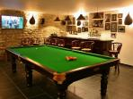 Private bar and recreation room: another big HD TV, music, snooker/pool table, darts and other games