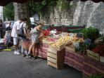 Thursday is market day offering a variety of fresh produce and clothing
